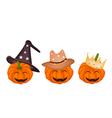 Three Happy Jack-o-Lantern Pumpkins vector image