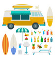 travel truck beach with drinks flat set with bus vector image vector image