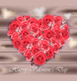 valentines day card roses heart on wood vector image vector image