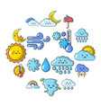 weater icons set cartoon style vector image vector image
