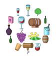wine yard icons set cartoon style vector image