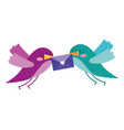 beautiful flying birds with message in beak lovely vector image