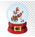christmas glass magic ball with santa claus vector image