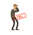 failed and stressed businessman character vector image