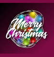 intricate garlands and merry christmas text vector image