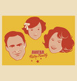 avatar retro family cartoon faces woman man and vector image
