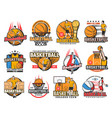 basketball sport game icons isolated set vector image