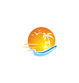 beach ocean sunset travel tropic hawai logo vector image vector image
