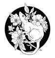black and white rat with flowers vector image
