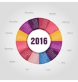 Calendar for 2016 round shape Week Starts Sunday vector image vector image