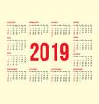 calendar grid for back side a business card vector image vector image