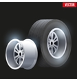 Car tires and wheel at warehouse vector image