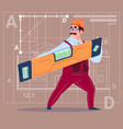 cartoon builder holding carpenter level wearing vector image vector image