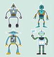 cartoon robots set simple funny cyborgs vector image