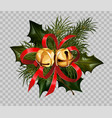 christmas decoration holly fir wreath bow golden vector image vector image
