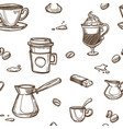 coffee shop various coffee beverages hand drawn vector image