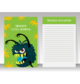 cute green notebook template with monster vector image
