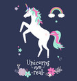 cute unicorn with flowers and rainbow modern vector image vector image