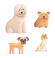 different type of cartoon dogs happy dog set vector image vector image