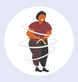 fat obese woman measuring her waistline sad vector image