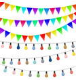 garlands of flags and colored lamps decorations vector image