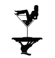 girl and martini in hand silhouette vector image
