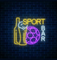 glowing neon sport bar concept on dark brick wall vector image vector image