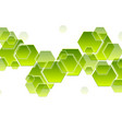 green tech hexagons abstract geometric background vector image vector image