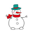 hand drawn snowman isolated on white vector image