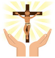 hands with jesus christ crucified vector image