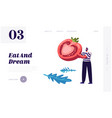 healthy food website landing page man in striped vector image vector image