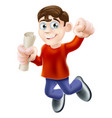 jumping happy man with diploma vector image vector image
