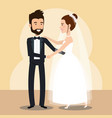 just married couple dancing avatars characters vector image