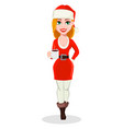 merry christmas woman in santa claus costume vector image