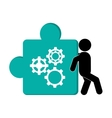 person pushing puzzle piece with gears icon vector image vector image