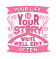 pink ribbon quote and saying good for print design vector image