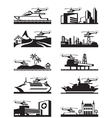 Platforms for take off and landing of helicopter vector image vector image