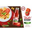 realistic tomato ketchup advertising vector image vector image