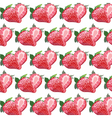 Red strawberry pattern in watercolor vector image