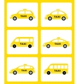 set of yellow taxi car icon vector image