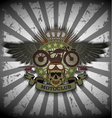 Stamp Moto club with a skull and wings vector image vector image