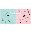 stationery accessories on colorful background vector image vector image