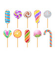 sweet candies sweets caramel rainbow lollipops vector image vector image