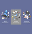 taxes accounting money banner set isometric style vector image vector image