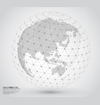 three-dimensional dotted world map with wireframe vector image