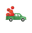 tomatoes in a truck concept for logo vector image vector image