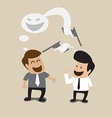 Two businessman talking with bad intention vector image vector image