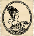 vintage engraved lady with cup of tea or coffee vector image vector image