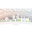 Warsaw poland city skyline in paper cut style