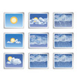 weather report icon set sun with clouds buttons vector image vector image